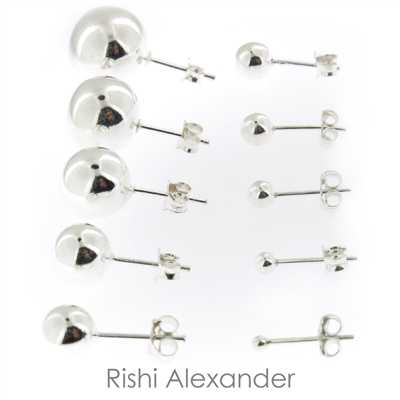 Pair of 925 solid sterling silver 3mm Classic Round Stud Earrings